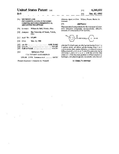 Pharmaceutical compositions for the treatment of ulcerative disorders comprising therapeutically effective amounts of compounds of the formula: ##STR1## wherein R is hydrogen, an alkyl group having from 1 to 4 carbon atoms, an alkoxy group having from 1 to 4 carbon atoms, halo, amino, hydroxy, or where R is meta trifluoromethyl, n is 1, 2, or 3 when R is methoxy, but is otherwise 1, and x is 1, 2, or 3, with the proviso that when n is 1, R in the meta position is trifluoromethyl or hydrogen, and physiologically acceptable salts thereof.