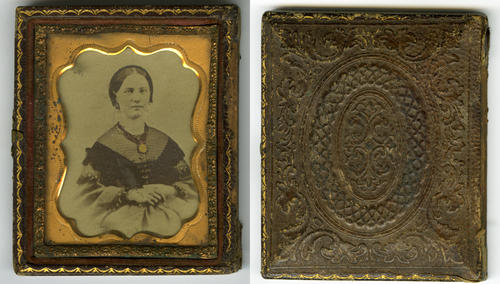 Civil War item: Elaborately framed photo of a women with the cover missing. Daguerreotype. (front and reverse sides of the frame)