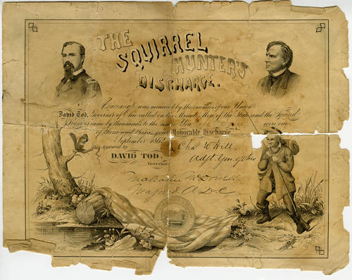 A certificate of Honorable Discharge for Capt. J. Squire from the Minute Men of the State and the Squirrel Hunters (state militia in Ohio at the time). Signed by Chat W. Hill, Adjt, General of Ohio, and Malcolm McDonnell, Major and A.D.C.