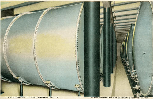 Postcard: Glass enameled steel beer storage tanks