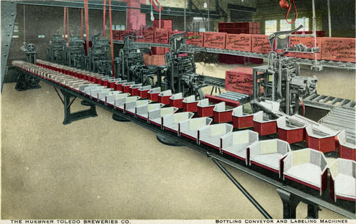 Postcard: Bottling Conveyor and Labeling Machines