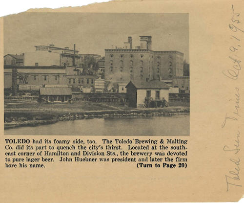 News clipping about the Toledo Brewing and Malting Co.