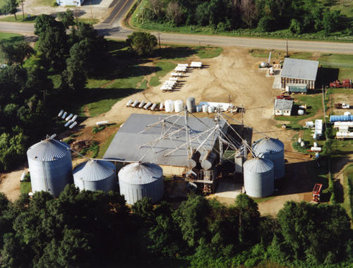 "Albion [""Clymer"" crossed through] Blondes RFC; aerial shot of silos in Albion, Michigan"