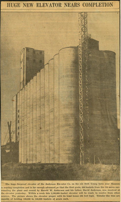 An image of the new fireproof grain elevator near completion on the old Mott farm near Maumee
