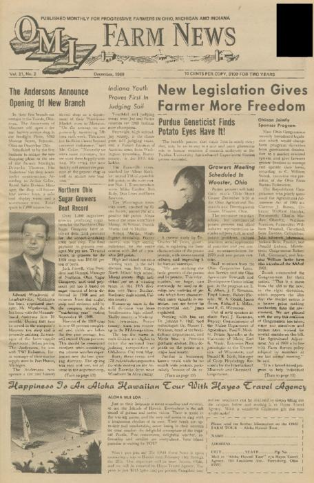 OMI Farm News, December 1969 (front page only)