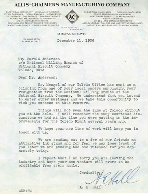 A letter to Harold Anderson from A. E. Hall of Allis-Chalmers Manufacturing Co. in connection to his resignation,