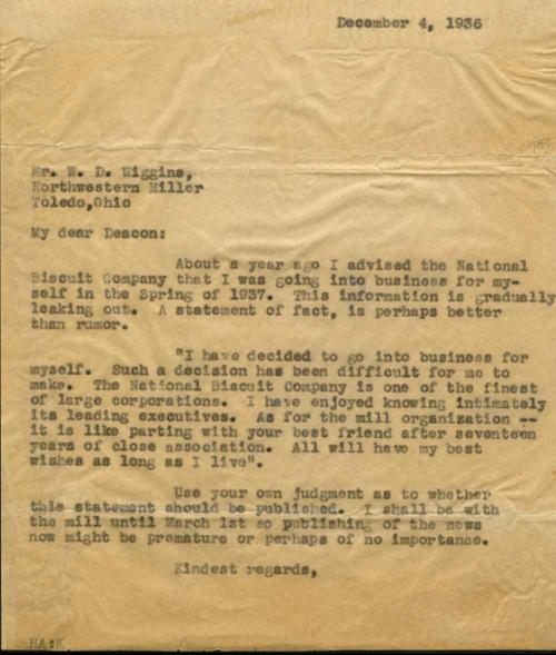 Letter of resignation to W. D. (Deacon) Higgins of Northwest Mills  in which Harold Anderson resigns in order to go into business for himself, effective March 1, 1937