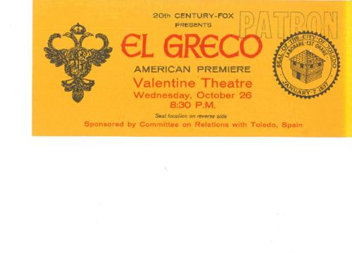 Ticket to the American Premiere of El Greco at the Valentine Theatre