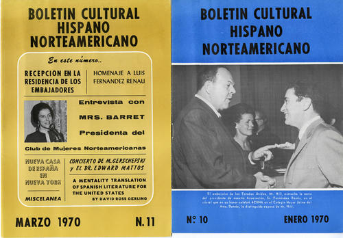 Cover pages of the 10th and 11st issues (both from 1970) of the Boletin Cultural Hispanic Norteamericano