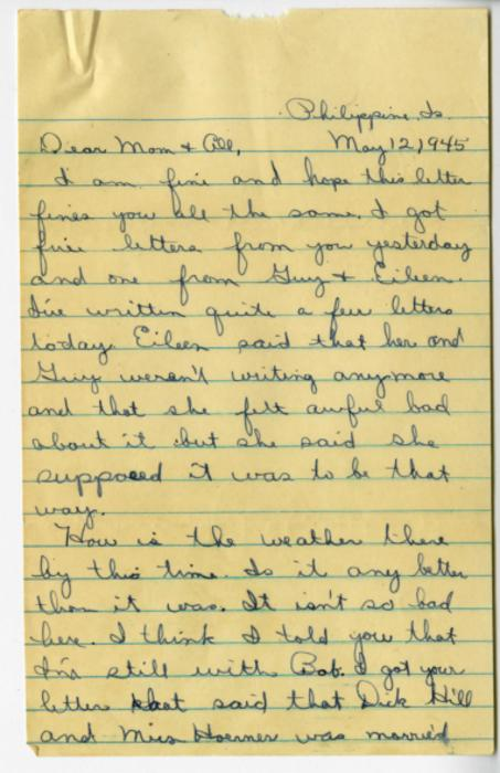 In letters written home between January and September 1945, William Barlow reflects on the differences he perceived between the Pacific and Ohio, and his concern for those he knew back home. He also discusses when he learned the war had ended, and comments on the Japanese enemy.