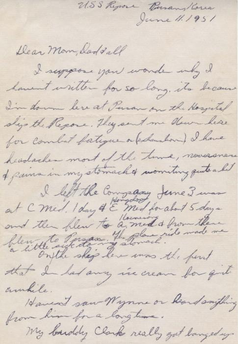 "In letters written home during the spring and summer of 1951, Leo Barlow describes life in Korea, Japan, and on a supply ship in the Pacific. He also tells his family that he was recently hospitalized for ""combat fatigue."""