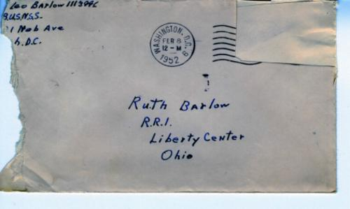 A letter from Leo Barlow with three envelopes dated February 8, 12, and 18, 1952