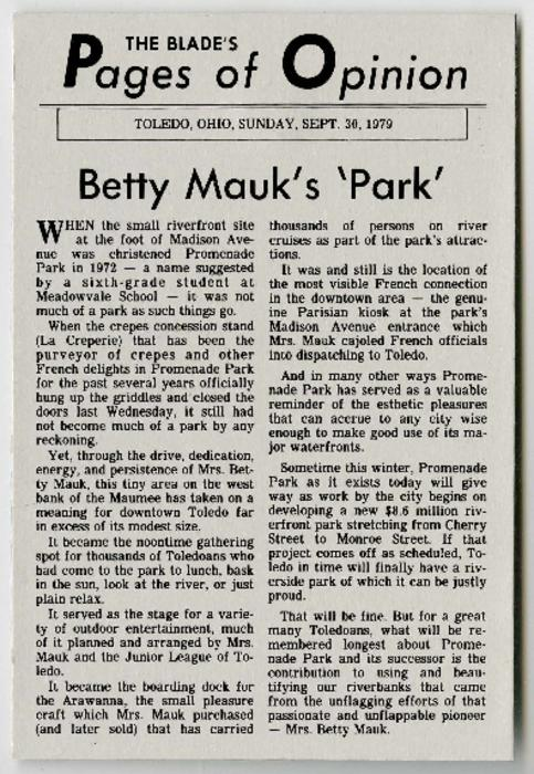 Article from the Toledo Blade's Pages of Opinion about Betty Mauk's contribution to Promenade Park.