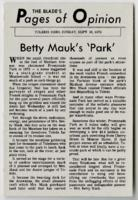 "Toledo Blade article ""Betty Mauk's 'Park'"""