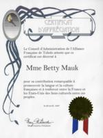 Alliance Francaise Certificate of Appreciation