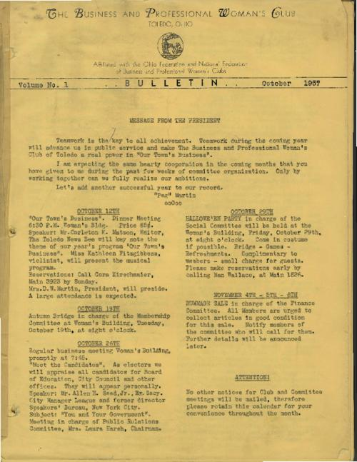 The very first issue of The Business and Professional Woman's Club, October 1937, which includes an organizational chart of the City of Toledo