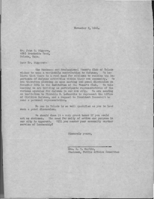 Correspondence in reference to a defense initiative of the Business and Professional Women's Club of Toledo