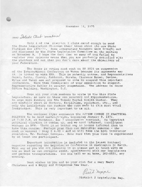 Memos and correspondence about sex discrimination and equal rights for women.