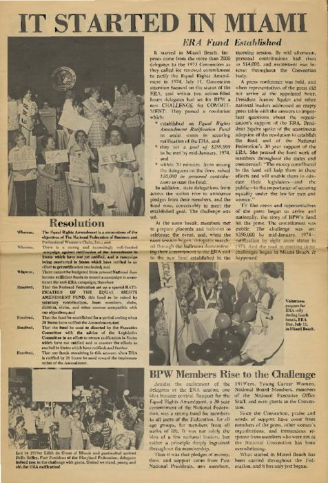 Newspaper insert on the progress surrounding the Equal Rights Amendment