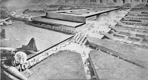 Photograph of the section of model showing the Union Terminal