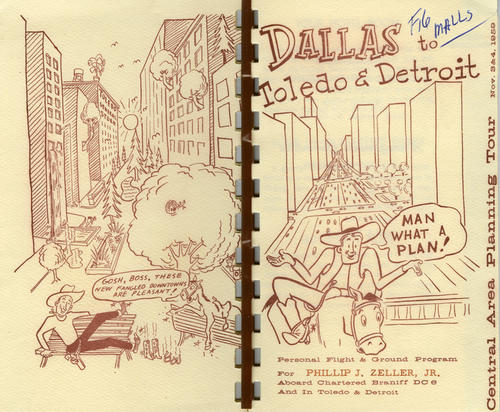 A booklet about downtown Toledo and Detroit plans, with humorous cartoons depicting a cowboy and his talking horse in an urban mall.