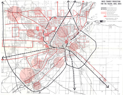 Mass Transit Projection for the Toledo, Ohio, area (map)