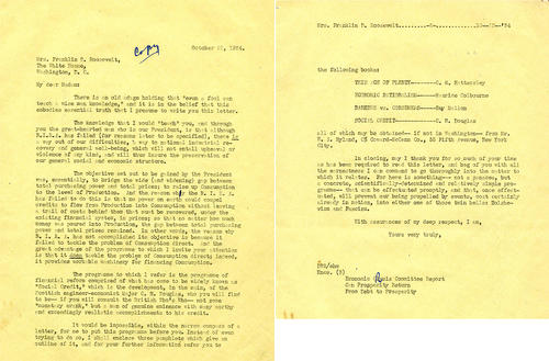 Letter to Eleanor Roosevelt regarding Social Credit Movement
