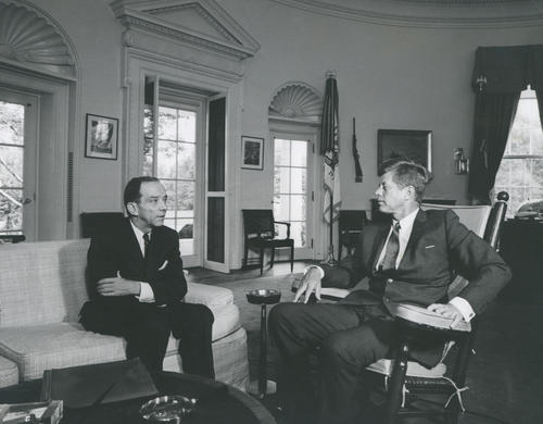 Ambassador Kohler is seen here conferring with President John F. Kennedy in the Oval Office of the White House.