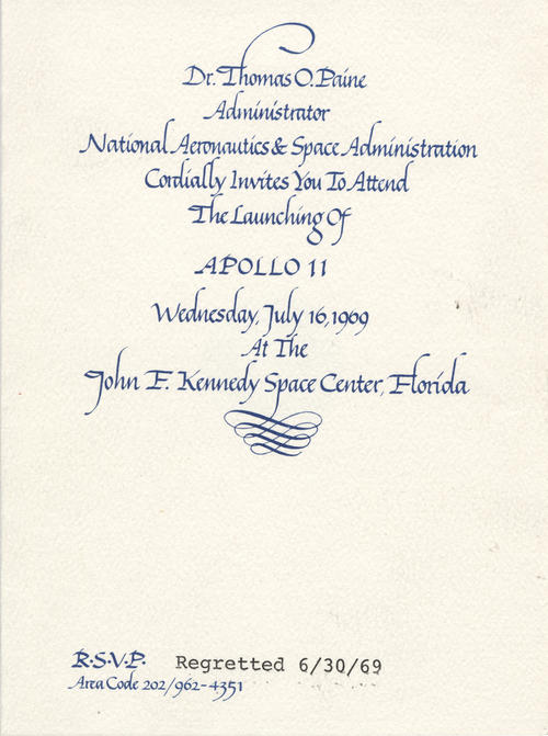 Invitation from NASA to Foy Kohler for the launch of Apollo 11 and by extension, the mission to the moon. Kohler declined for unknown reasons.