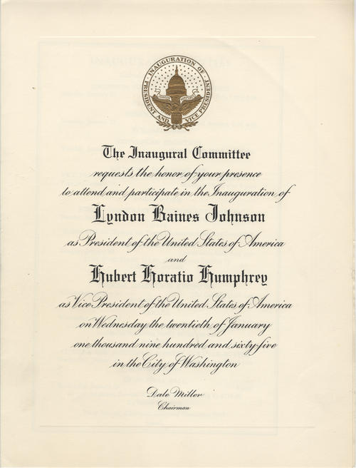 Invitation to and program for the inauguration of Lyndon B. Johnson as President of the United States.