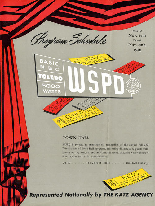 Cover of WSPD Program Schedule featuring the Town Hall, Weeks of November 14th through 20th, 1948