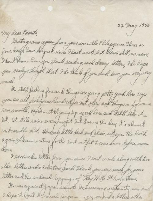 Letter from Gordon Dye to his parents from the Philippines
