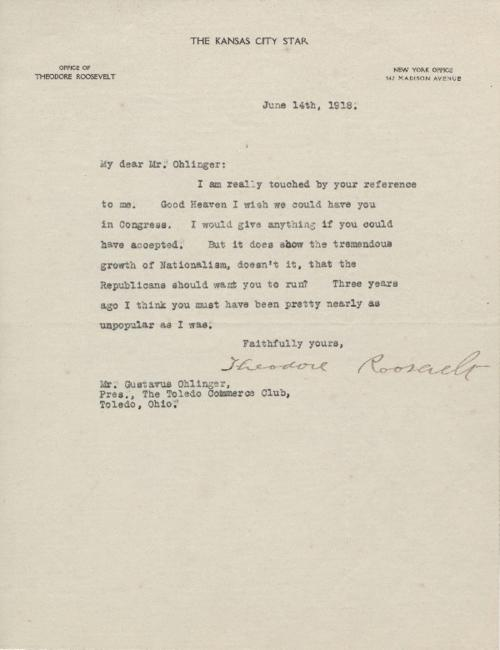 Letter from former President Theodore Roosevelt to Gustavus Ohlinger wishing that Ohlinger would run for Congress.