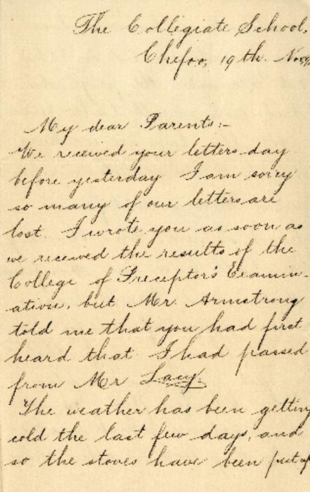 A letter from Gustavus Ohlinger to his parents, while Gustavus attended the Collegiate School in Chefoo, China.
