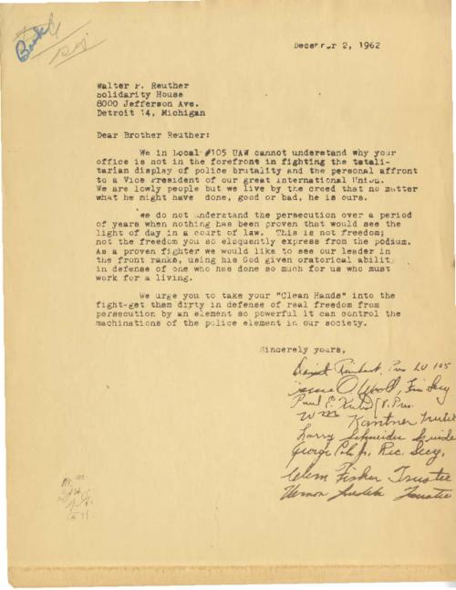 A letter to Walter Reuther re. Gosser's prosecution, signed by multiple parties