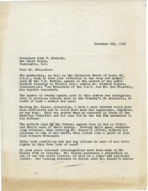 Letter from Joe Wlodarz to President John F. Kennedy about the arrests of Gosser and Pincotti