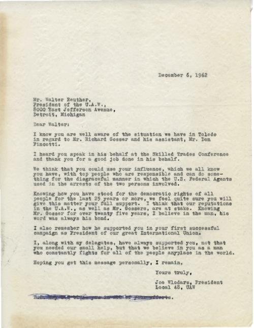 Letter from Joe Wlodarz to Walter Reuther about the arrests of Gosser and Pincotti