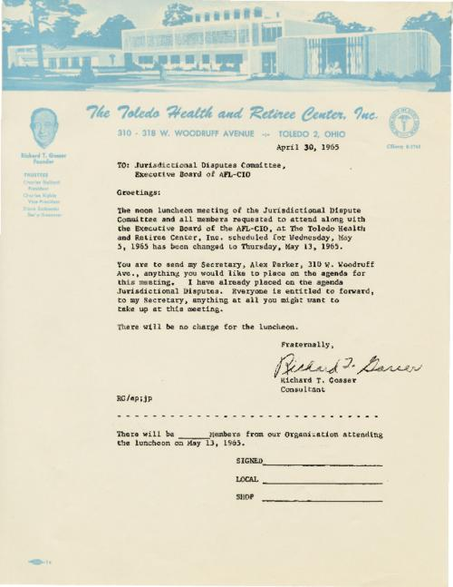 Letter from Gosser to the Jurisdictional Dispute Committee, Executive Board of AFL-CIO