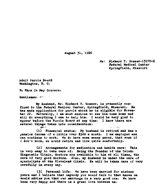 Letter from Ruth Ann Gosser to the Parole Board, reply, and certificate