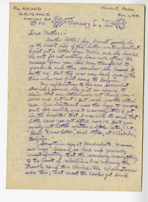 Herbert White letter to his mother from Wormhout, France, Jan. 1, 1919