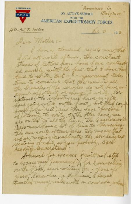 Herbert White letter to his mother from Belgium, Nov. 3, 1918
