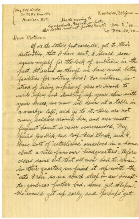 Herbert White letter to his mother from Wiesdeke, Belgium, Dec. 3, 1918