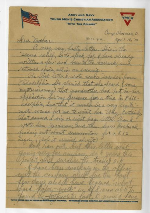 Herbert White letter to his mother from Camp Sherman USA, April 16, 1919