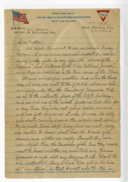 Herbert White letter to his mother from Camp Sherman USA, April 12, 1919
