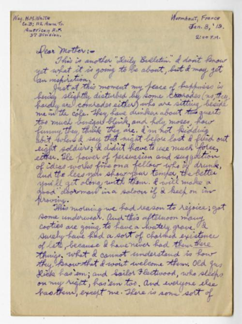 Herbert White letter to his mother from Wormhout, France, Jan. 3, 1919