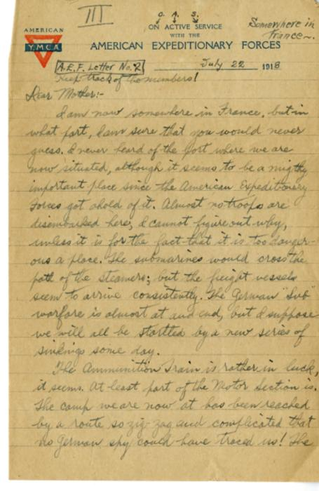 Herbert White letter to his mother from France, July 22, 1918