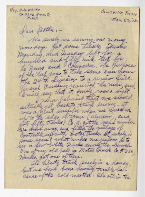 Herbert White letter to his mother from Courteille France, Jan. 23, 1919