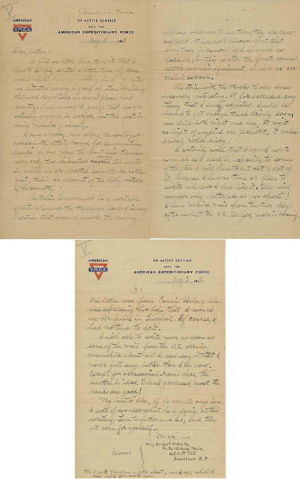 Letter from Herbert White to his mother, labeled V, August 6, 1918