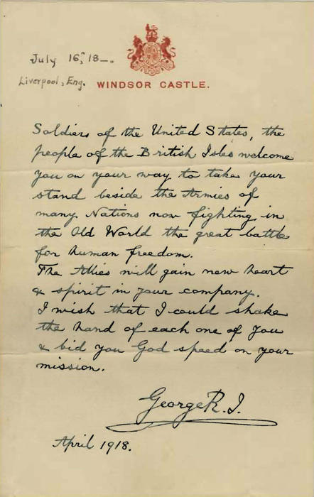 Letter from King George V welcoming American troops