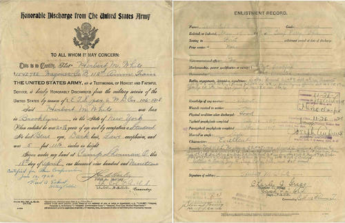 Herbert White's honorable discharge paper from the U.S. Army